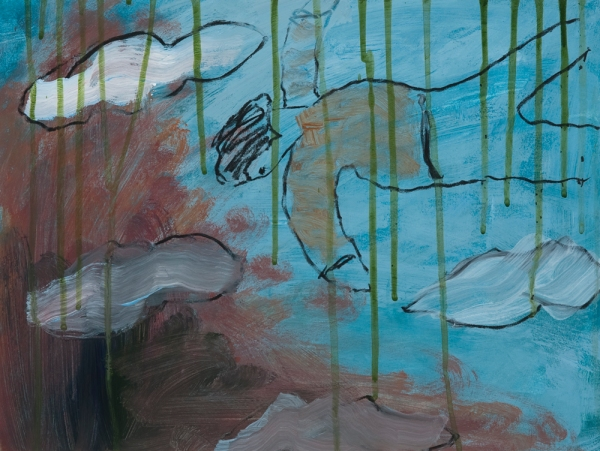 Carol McGraw, I Can Soar Above - In My Dreams, 2011, acrylic and charcoal on paper, 12 x 16 inches