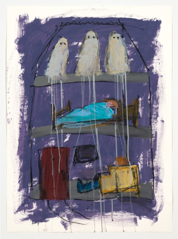 Carol McGraw, Ghosts in the Attic, 2012, acrylic and charcoal on paper, 30 x 22 inches